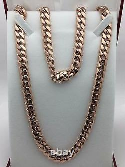 10k Rose Gold Solid Heavy Cuban Link Chain Necklace 20 10mm 130 grams