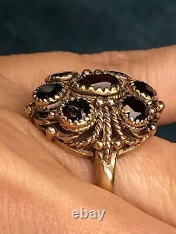 10k Yellow Rose Gold Garnet Cluster Ring. Large 0.9 & Heavy 6.7g. Regal-K1L00J