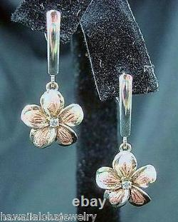 13mm Heavy Solid 14k White Rose Gold Hawaiian Plumeria Cz Leverback Earrings #1