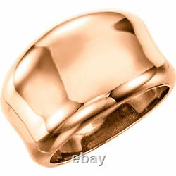 14 KT Rose Gold Polished Heavy Concave Design Wide Cigar Band Ring NEW