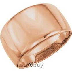 14 KT Rose Gold Polished Heavy Domed Design Wide Cigar Band Ring NEW