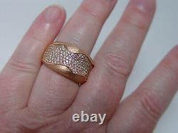 14K Rose Pink Gold Diamond Pave Ring Band 1ct Heavy