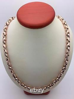 14k Rose Gold Solid Heavy Bullet Style Chain Necklace 22 6mm 84.1 grams