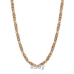 14k Rose Gold Solid Heavy Bullet Style Chain Necklace 24 6mm 87.1 grams