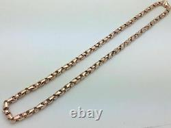 14k Rose Gold Solid Heavy Bullet Style Chain Necklace 25 6mm 97 grams