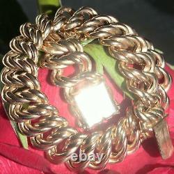 14k rose gold heavy fancy double curbed link chain bracelet 8.75 handmade 23.9g