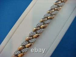 18 K. Rose&white Gold Super Heavy 60.7 Grams Unisex Diamond Link Bracelet 7.25