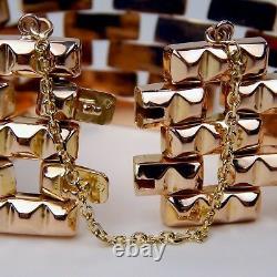 18 kt Rose Gold HEAVY Retro Art Flexible Link Brick Motif Bracelet 7 1/8 A3197
