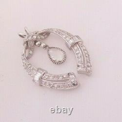 18ct gold 3ct rose baguette and round cut diamond pendant, art deco design heavy