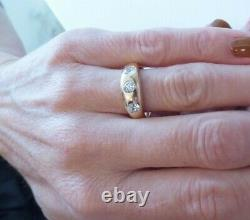 18ct rose gold old cut diamond gypsy ring, Victorian 3 stone heavy 7.9 grams