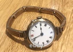 1915 Beautiful All Solid 9ct Rose Gold Ladies Bracelet Wristwatch. Heavy Gold