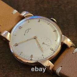 1940s SOLVIL PAUL DITISHEIM, Heavy 18K Solid Rose GOLD Vintage Watch, 34mm