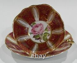 1960s PARAGON PINK ROSE CUP & SAUCER Heavy Gold Filigree on Burgundy Background