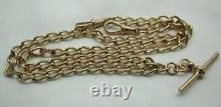 1980's Vintage Gents Lovely Quality Heavy 9ct Rose Gold Albert Neckchain