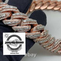 200 Gram Heavy Pure 10k Rose Gold Baguette Moissanite Chain Miami Cuban Curb