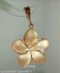 20mm Hawaiian 14k Rose Gold Diamond-Cut Matted Plumeria Flower Pendant #1Heavy