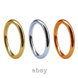 2mm 9ct Yellow White Rose Solid Gold Round Halo Wedding Rings UK HM Heavy Bands