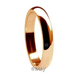 3mm 9ct Red Rose Gold D Shape Wedding Rings Heavy UK HM Solid 2.5g Bands H-Q NEW