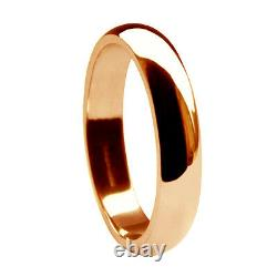 4mm 9ct Solid Red Gold D Shape Rose Wedding Rings Heavy 3.7/4.0g Bands UK HM H-Q
