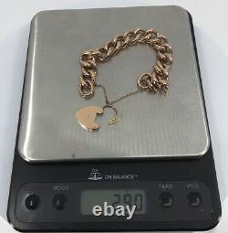 9ct Rose Gold Bracelet Large 13mm Rounded Large Links Heavy 29 Gram Vintage Mint