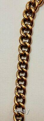 9ct Rose Gold Graduated Kerb Link Double Albert Chain Heavy 41.1g