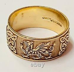 9ct Rose Gold Welsh Dragon Celtic Pattern Gents Wedding Ring Heavy 7.4g
