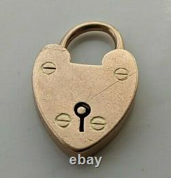 ANTIQUE VICTORIAN 375 9CT ROSE GOLD OPENING CHARM PADLOCK HEAVY 4.07 grams
