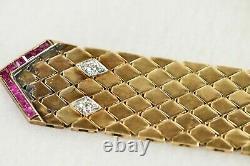 ART DECO BELT BUCKLE Bracelet 14k Rose Gold Heavy 2.27 oz with Diamonds & Rubies