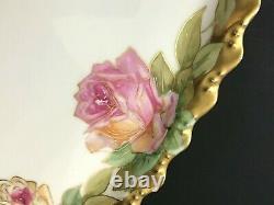 ATQ LDBC Flambeau Limoges Roses Rectangle Serving Tray Platter Heavy Gold Trim