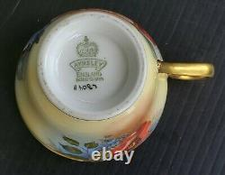 AYNSLEY Heavy Gold Cabbage Rose Signed J. A. Bailey Demitasse Teacup and Saucer