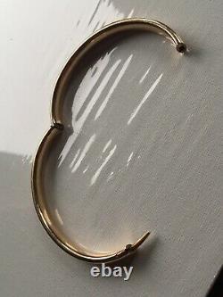 Antique 10k Solid YellowithRose Heavy Gold Bangle Bracelet 13 gram Art Deco Estate