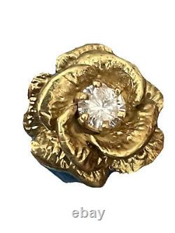 Antique 14KT Yellow Gold Rose Heavy Ring Size 6.25 Total Weight 9.1 Grams