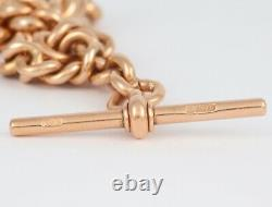 Antique Heavy 9Ct Rose Gold Graduated Double Albert Watch Chain 15'
