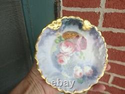 Antique Lk Limoges Painted Floral Roses Heavy Gold Porcelain Dessert Plate Set