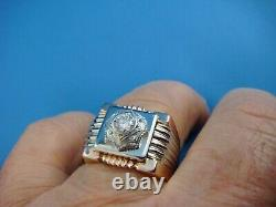 Antique Men's Rose And White Gold Handmade Ring Heavy 13.8 Grams Size 103/4