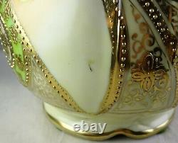 Antique Nippon Porcelain Vase Large Roses Heavy Gold Trim Blue Maple Leaf Mark