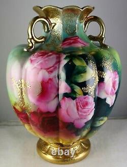 Antique Nippon (unmarked) Japanese Porcelain Vase Large Roses Heavy Gold