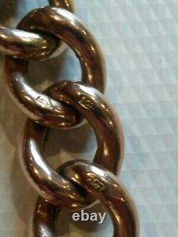 Antique Rose Gold Heavy Link Charm Bracelet With Large Heart Locket. 26.7grams