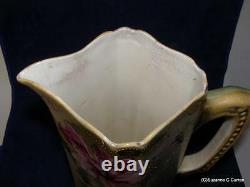Antique Tall Nippon Tankard with Heavy Gold Beading & Roses