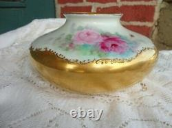 Antique Unmarked Limoges Painted Floral Roses Heavy Gold Porcelain Squatty Vase