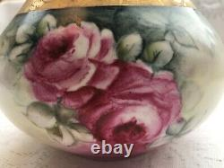 B & C Limoges France Hand Painted Red Roses/ Heavy Gold Gild Vase (600)