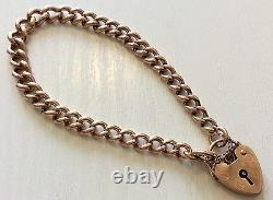 Beautiful Quality Ladies Heavy Solid Antique 9ct Rose Gold Bracelet With Padlock