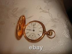Circa 1893 Hunting Waltham Warranted 14 Kt Rose Gold Huge Heavy Pocket Watch