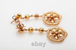 Designer $4000.50ct 18k Rose Gold DANGLE Flower Earrings 15g HEAVY 2 LONG