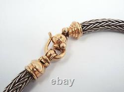 Designer 9K Rose Gold Sterling Silver Heavy 9mm Wheat Chain Choker Necklace 154g