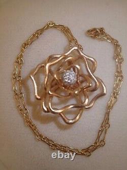 Designer Heavy Roberto Coin Rose Gold 1.0ct diamond rose necklace 23g