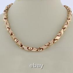 Estate Fancy Link Chain Necklace 14K Rose Gold Heavy 72.2 GR Unisex 22