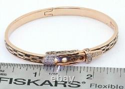 Etoile Filante heavy 18K rose gold 0.20CT diamond belt buckle bracelet