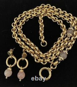 Exquisite 14k Yellow Gold 36 Heavy Chain Necklace With Rose Quartz Bead Italy