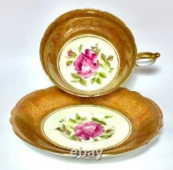 Exquisite PARAGON Double Warrant Tea Cup & Saucer CABBAGE ROSE Heavy Gold Gilt